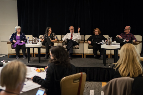 Sheryl Pedersen, Professor Wendy Azzopardi, Chris Summerville (facilitator), Elaine Paton and John Dick open the forum by sharing their experiences.
